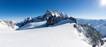 Mont Blanc, France: winter panorama on Geant Glacier and Valle B Stock Photo