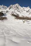 Mont Blanc gesehen von Val Frettchen Courmayeur, das Aostatal, Italien Stockfoto