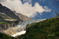 Mont Blanc Glacier. In June 2009. Photographed from the ville of Argentiere Stock Images