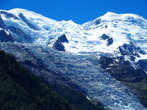 Mont Blanc and glacier in the Alps. Bossons Glacier of the Mont Blanc massif, Chamonix, the Alps, France Stock Photography