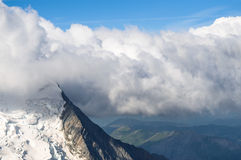 Mont Blanc, Glacier, Dense cloud Stock Photo