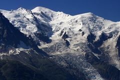 Mont Blanc. The highest mountain in the Alps: the Mont Blanc with the Glacier des Bosson, Chamonix, France Stock Images