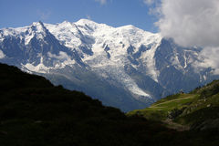 Mont Blanc. The highest mountain in the Alps: the Mont Blanc with the Glacier des Bosson, Chamonix, France Stock Image