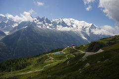 Mont Blanc. The highest mountain in the Alps: the Mont Blanc with the Glacier des Bosson, Chamonix, France Royalty Free Stock Image