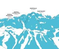 Mont Blanc, hoogtehulp, bergen Italië en Frankrijk, stock illustratie
