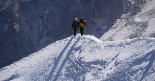 Mont Blanc klättrare royaltyfri fotografi