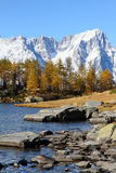 Mont Blanc and lake Arpy. Mont Blanc massif and lake Arpy viewed from Italy in autumn Stock Image