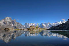 Mont Blanc from Lake Blanc, Chamonix, France. Most of the Mont Blanc Massif reflecting in the still waters of Lake Blanc (Lac Blanc) in Massif Aiguilles Rouges Stock Photos