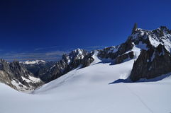 Mont Blanc lato alza, delle alpi italiane e francesi, Francia Fotografia Stock