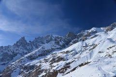 Mont Blanc lato alza, delle alpi italiane e francesi, Italia Immagini Stock Libere da Diritti