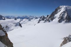 Mont Blanc Massif from Aiguille du Midi Royalty Free Stock Image