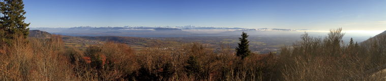 Mont Blanc massif and Alps mountains, France Royalty Free Stock Photos