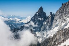 Mont Blanc massif,in the Chamonix mont blanc.  Stock Photos