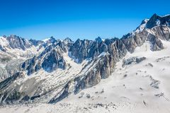 Mont Blanc massif,in the Chamonix mont blanc.  Royalty Free Stock Images