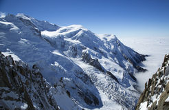 Mont Blanc massif in the French Alps Royalty Free Stock Images