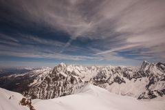 Mont Blanc massif in French Alps Stock Photography
