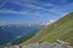 Mont Blanc massif, Italian Alps, Aosta Valley. Royalty Free Stock Images