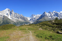 Mont-Blanc massif and small path Stock Images
