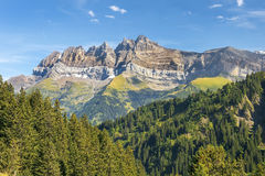 Mont Blanc massif in Swiss Alps, Switzerland Royalty Free Stock Image