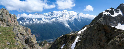 Mont-Blanc massive panoramic Royalty Free Stock Photos