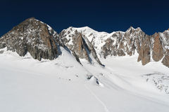 Mont Blanc and Mer de glace glacier Royalty Free Stock Photography