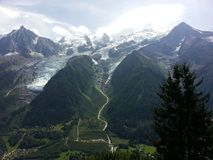 Mont Blanc mountain and glacier near Chamonix, France stock images