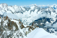 Mont Blanc mountain massif (view from Aiguille du Midi Mount,  F Royalty Free Stock Photo
