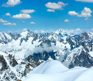 Mont Blanc mountain massif view from Aiguille du Midi Mount,  F Royalty Free Stock Image