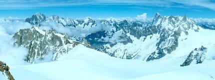 Mont Blanc mountain massif (view from Aiguille du Midi Mount, Fr Stock Photos