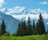 Mont Blanc mountain massif (view from Plaine Joux outskirts) Royalty Free Stock Photography