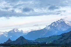 Mont Blanc mountain massif (view from Plaine Joux outskirts) Stock Photos