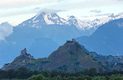 Mont Blanc mountain massif (view from Plaine Joux outskirts) Royalty Free Stock Image