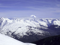 Mont Blanc Mountain Panorama, France, Europe. Mont Blanc Panorama, Switzerland, Europe. View on the Mont Blanc Mountain in the winter. Paradiski area Royalty Free Stock Images