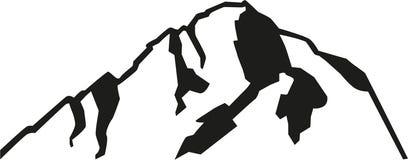 Mont Blanc mountain silhouette. Vector Royalty Free Stock Photo