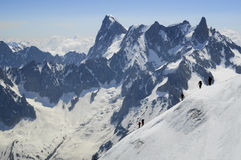 Mont Blanc mountaineers Stock Photo