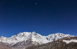 Mont Blanc nocą Obrazy Stock
