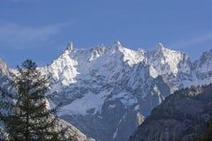 Mont Blanc o italiano Monte Bianco Immagine Stock Libera da Diritti