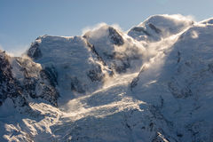 Mont Blanc and others peaks. Frence Alps in winter, France Stock Image