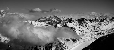 Mont-blanc panorama. Black and White panorama of the Mint-Blanc, the peak of europe Stock Images