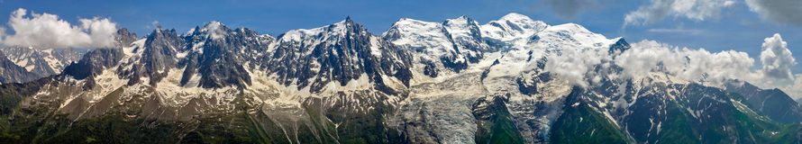 Mont Blanc Panorama. From Brevent peak Royalty Free Stock Photos