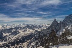 Mont Blanc panorama. Really huge panorama in the Italian Alps Royalty Free Stock Images