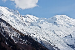 Mont Blanc peak with blue sky Stock Photo