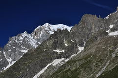 Mont Blanc peak, Italian Alps side. Alpine ridge Royalty Free Stock Photo