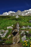 Mont Blanc peak, Italian Alps side. Alpine ridge Stock Image