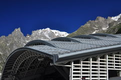 Mont Blanc peak, Italian Alps side. Modern building Royalty Free Stock Photos