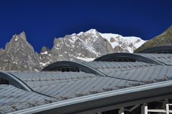 Mont Blanc peak, Italian Alps side. Modern building Stock Photo