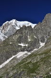 Mont Blanc peak, Italian and French Alps, Italy side. Royalty Free Stock Photos