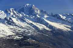 Mont Blanc, Plagne Centre, Winter landscape in the ski resort of La Plagne, France Stock Photos
