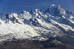 Mont Blanc, Plagne Centre, Winter landscape in the ski resort of La Plagne, France Stock Image