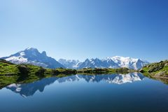 Alps in Chamonix. Mont Blanc reflected in Cheserys Lake, Mont Blanc Massif, Alps, France stock images